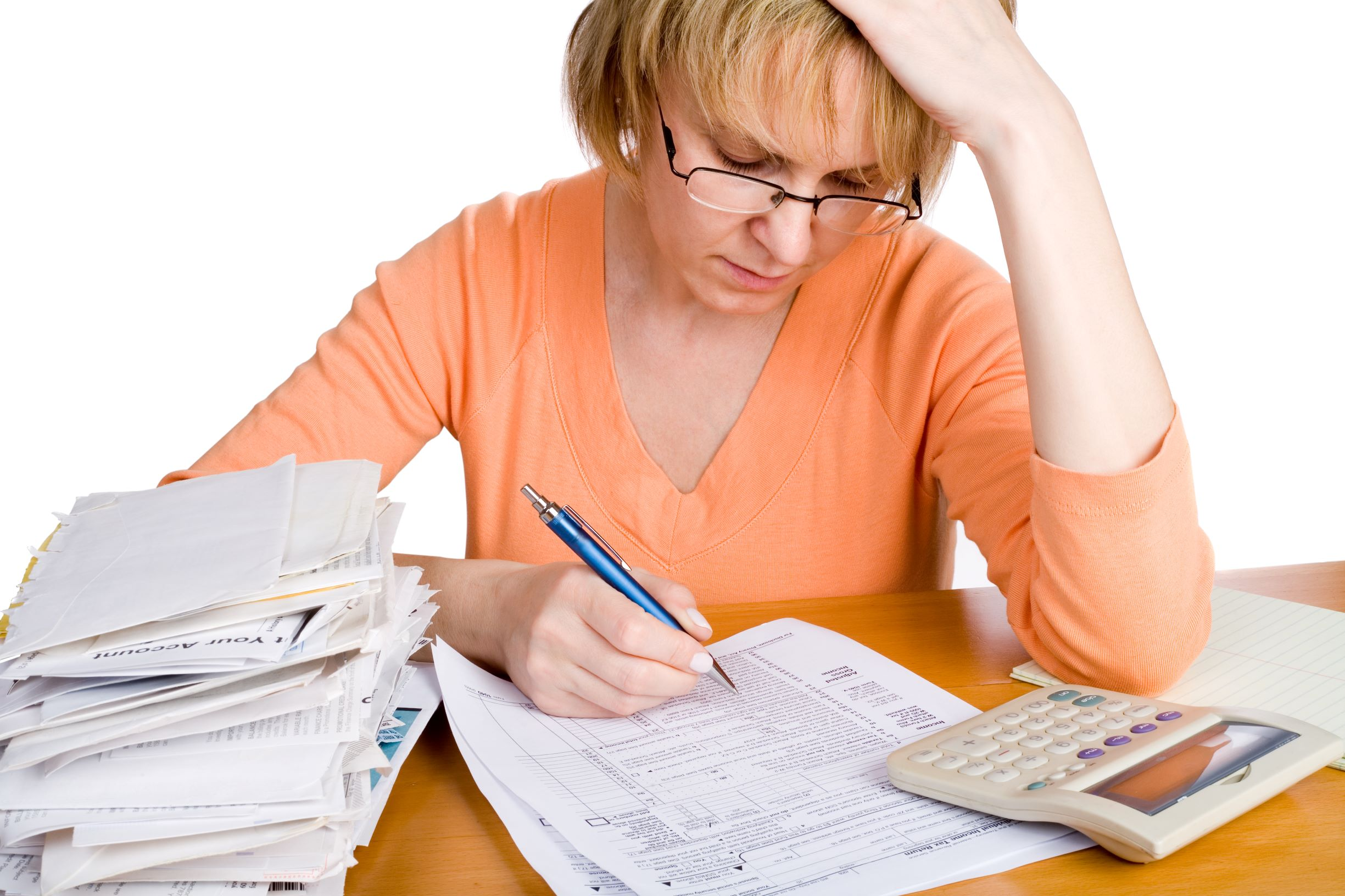 Woman stressed out because of taxes