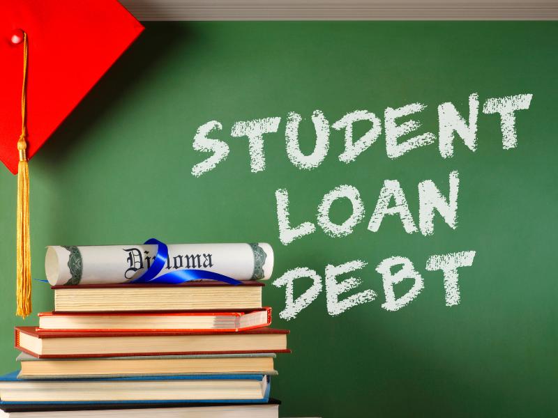 Student Loan Debt written on a chalkboard