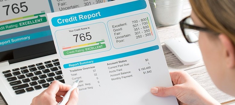 Woman looking at her Credit Report