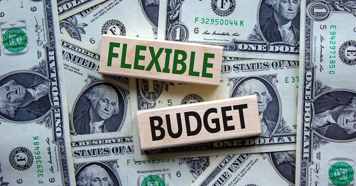 Dollar bills with blocks on top reading Flexible Budget